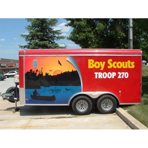 Digitally printed vinyl trailer wrap with custom graphics