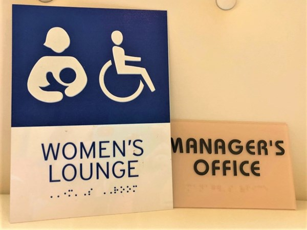 Womens Lounge ADA Sign with Braille