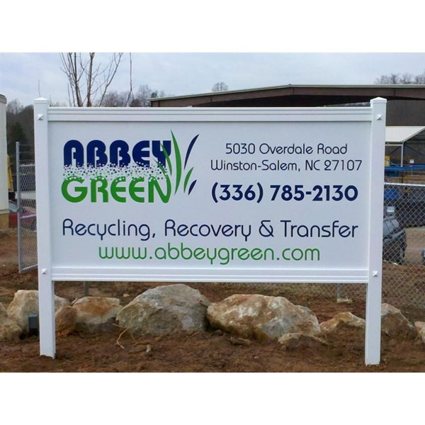 Maintenance-free PVC sign frame with a cut vinyl/ composite aluminum sign panel.  Reasonably priced and good looking too.