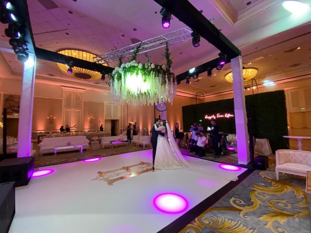 Floor Graphics | Custom Signs & Signage | Interior Designers & Architects | Orlando, Florida, Disney, Grand Floridian Hotel | Wedding | J Closs Event Planning | Monogram | Chrome