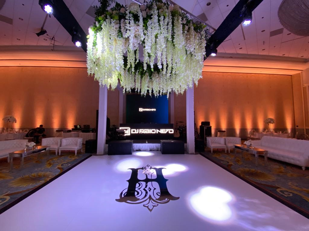 Floor Graphics | Custom Signs & Signage | Interior Designers & Architects | Orlando, Florida, Disney, Grand Floridian Hotel | Wedding | J Closs Event Planning | Monogram | Chrome | DJ Fábio Neto