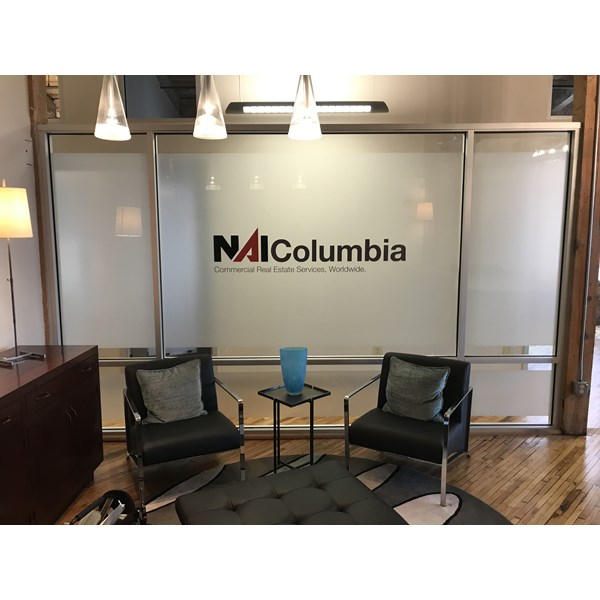 Interior Signage & Indoor Signs-NAI Columbia vinyl lobby with frosted