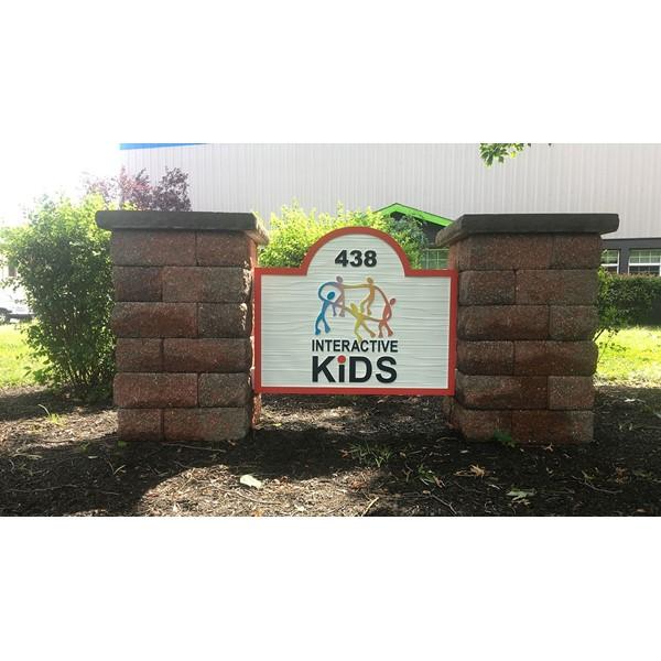 Sandblasted monument signage custom made for Interactive Kids.