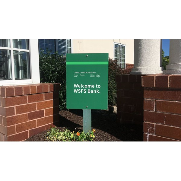 WSFS Banks welcome sign to its clients at their Concordville branch.