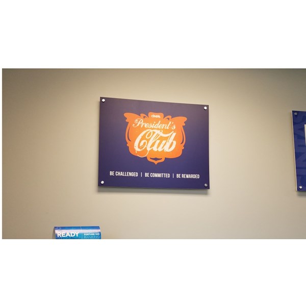 Office signage made from artwork provided by the client, and printed on PVC for Cintas.