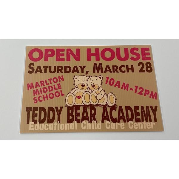 A fresh design for Teddy Bear Academys yard signs.