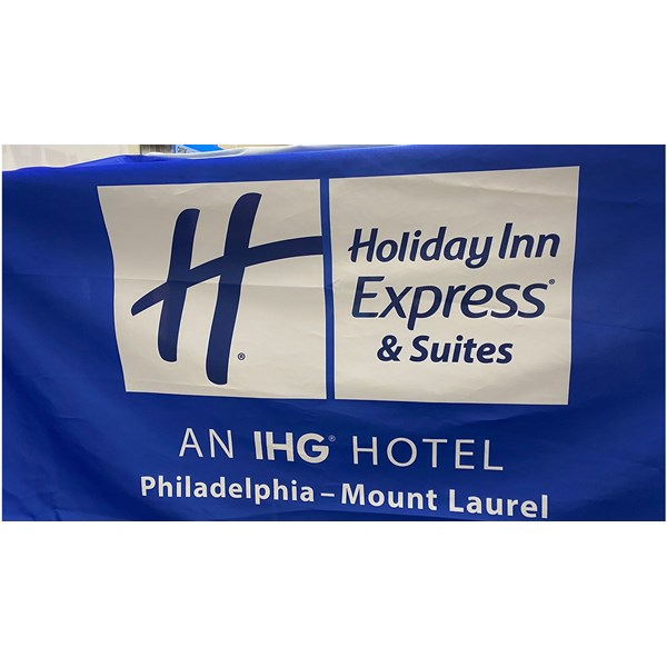 Fabric table throw for Holiday Inn Express Mt. Laurel. The company updated their logo and the hotel needed a new table throw.
