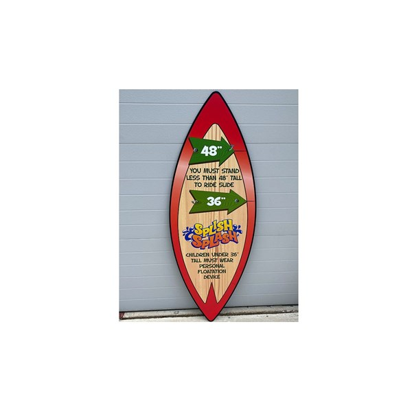 Custom surfboard safety signage for one of Sahara Sams many attractions.