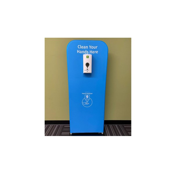 Custom made hand sanitizing station for The Stars Group Interactive.