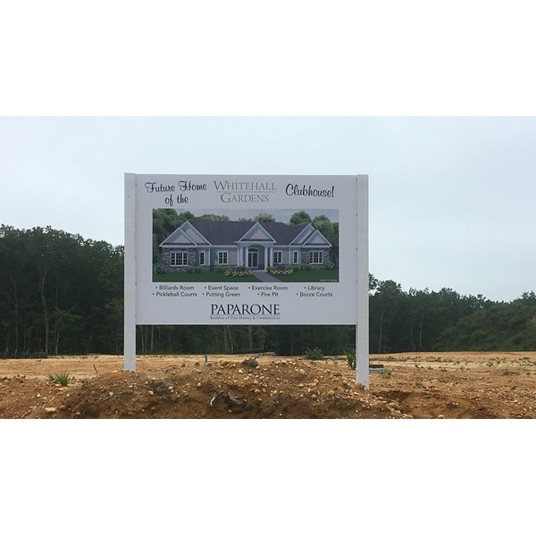 Paparone New Homes used a post & panel sign to announce construction on a new clubhouse.