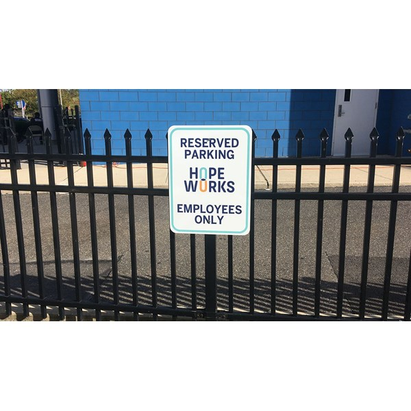 Parking for employees only sign for our client Antebi Properties.
