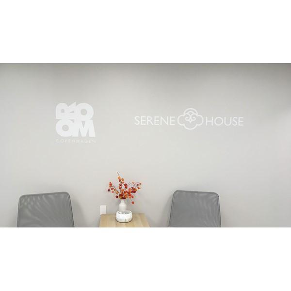 Wall graphic logos for Room Copenhagens and Serene Houses lobby.
