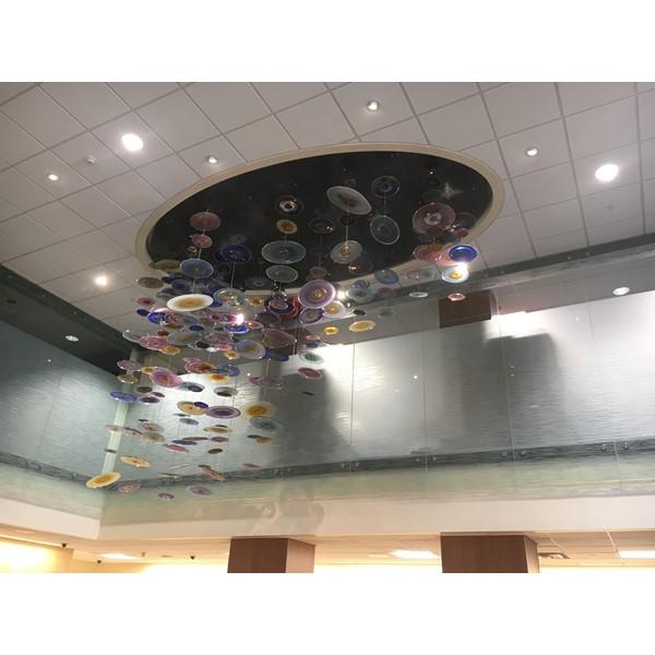Custom glass ceiling sculpture
