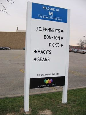 Mall shopping center directional wayfinding signage Rochester NY