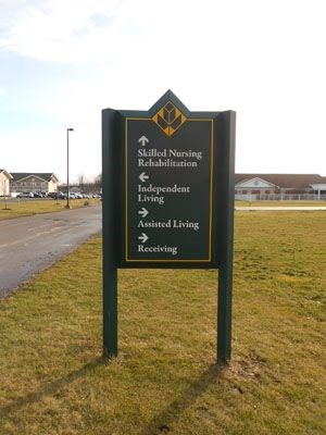 Retirement Community Outdoor directional signage Rochester NY