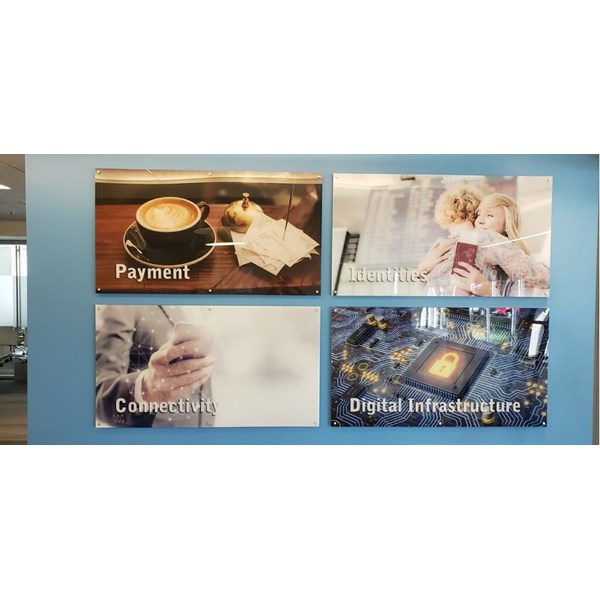 5 Foot wide, back printed acrylic displays that are stud mounted to the wall at G & D Group.
