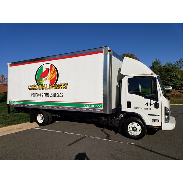 This truck is number 41 for Cardinal Bakery! They needed some their logo installed with some vinyl lettering.