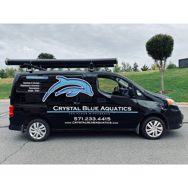The white and blue colors in Crystal Blue Aquatics logo and lettering really pop on their new company vehicle.