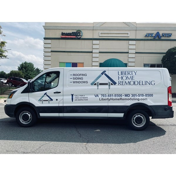 Liberty Home Remodeling needed their new van to fit the rest of the fleet. Our graphics can easily give your company the professional look, while informing those around it.