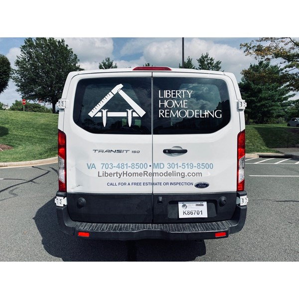 Vehicle vinyl can be custom for all surfaces; window and body. Crisp white lettering is great for vehicle windows!