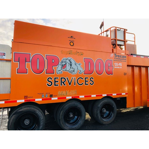 Top Dog logo on a new machine. Our material is built strong to last outdoors and stay vibrant!
