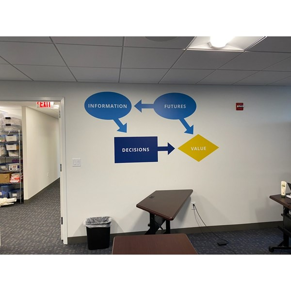 Innovative Decisions needed some color in their training space. Their logo in bold colors and large scale will help get their message across!