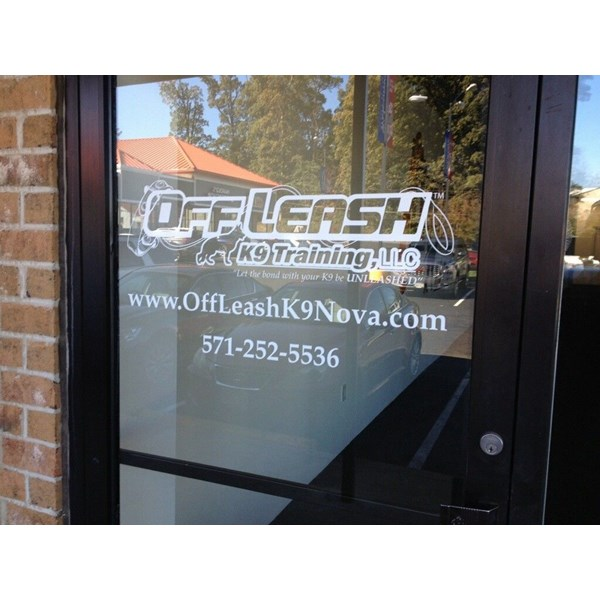 Decal cut door logo and contact info was installed for Off Leash K9 Training. Clean and simple.