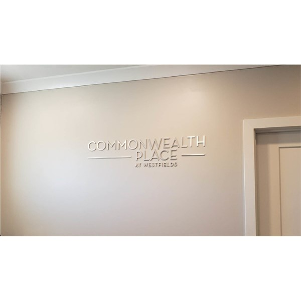 Toll Brothers had their Commonwealth Place logo created in Dimensional Letters with a brushed silver face. Very elegant!