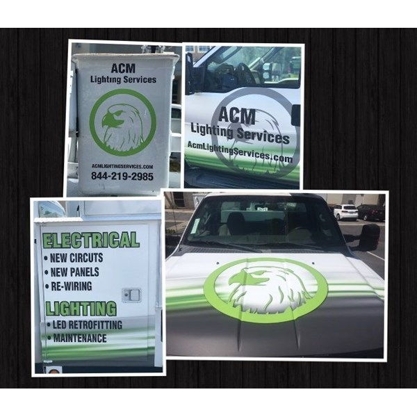 Vehicle Logo graphics and lettering for ACM Lighting Corona, CA