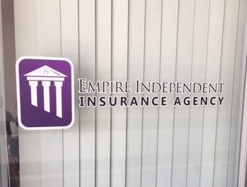 Vinyl window graphics for American Independent Insurance Agency in Riverside, CA