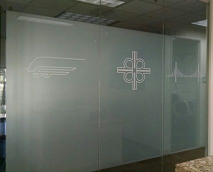 Frosted window Vinyl installed at Walsh Construction in Corona, CA.