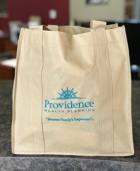 Promotional shopping bag for Providence Wealth Planning, Corona, CA