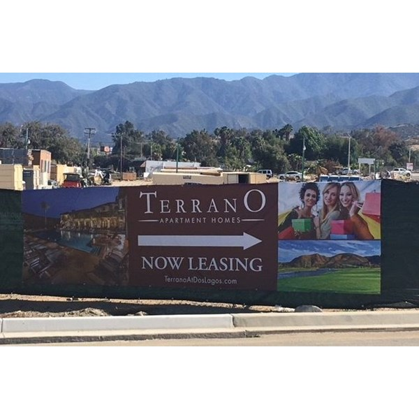 Large banner for Terrano Luxury Apartments, Dos Lagos, Corona, CA