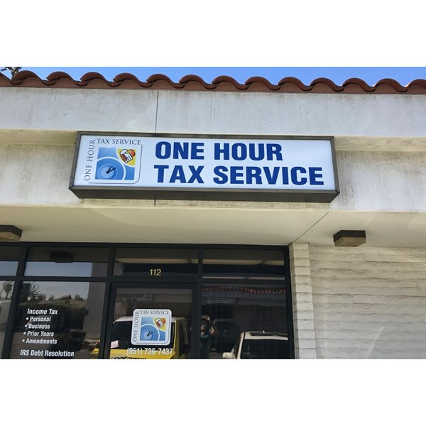Custom light box sign for One Hour Tax Service, Corona, CA
