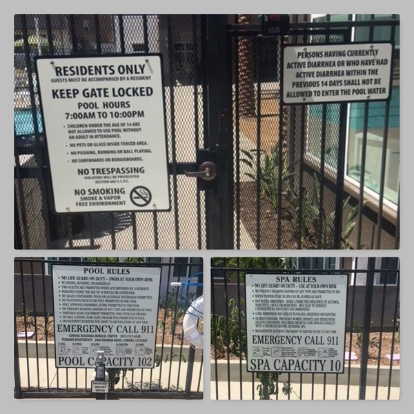 Pool and spa safety signs at TerranO Luxury Apartments, Corona, CA