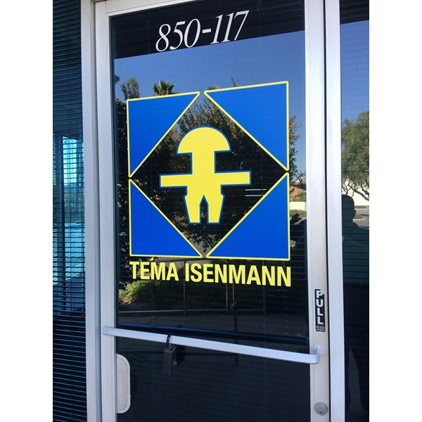 Businessfront window decal for Tema Isenmann