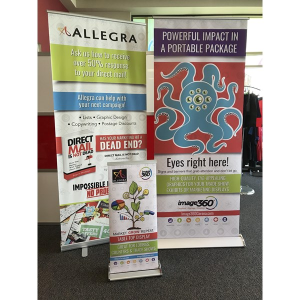Mini, standard and deluxe banner stands for Allegra/Image 360