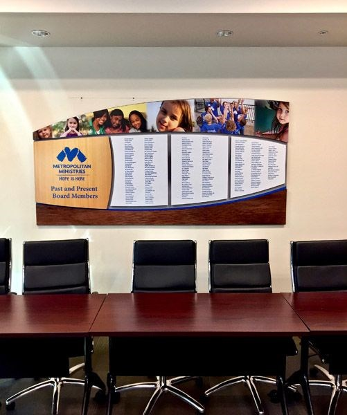 Custom Made Leadership Board with 1/2 Routed PVC with Digital Print and Various 1/4 Cut Panels