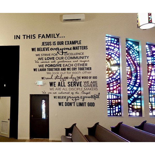 Custom Church Word Collage with Custom Cut Dimensional Letters of Different Shapes and Sizes