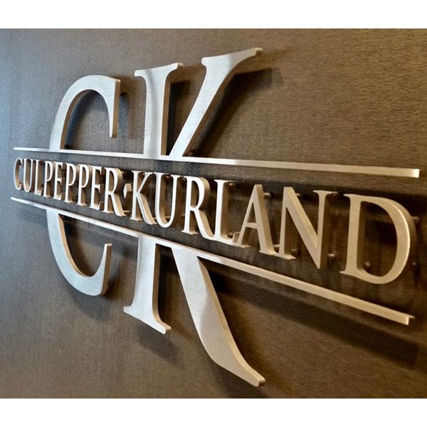 Custom Cut Indoor Brushed Aluminum Dimensional Letters with Stand-Offs