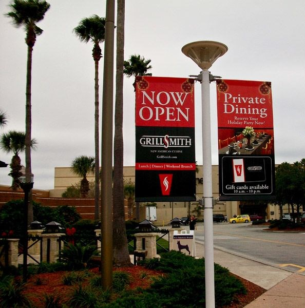 Custom Outdoor Pole Banner at Westfield Mall in Brandon, FL