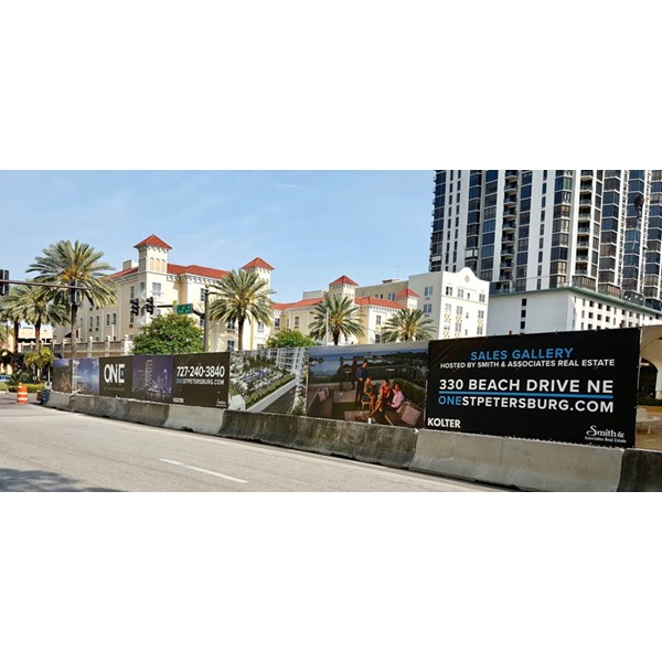Custom Outdoor Banner Wrap on Construction Fence in St. Pete, FL