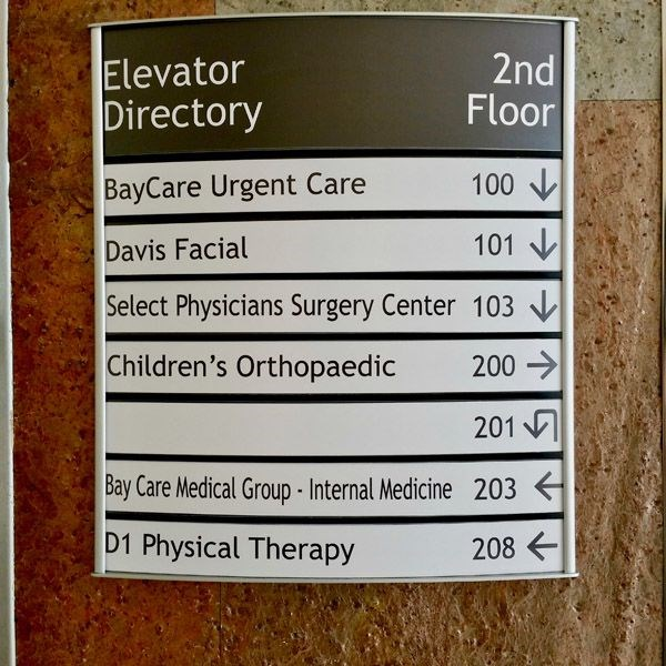 Custom Indoor Directory with Curved Frame and Changeable Copy Inserts
