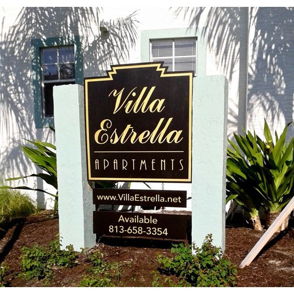 Custom Single-Sided Sand Blasted Monument Sign Between Two Concrete Posts - South Tampa, FL