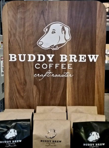 Custom Cut Vinyl Graphics on a Point of Sale Display for Buddy Brew Coffee
