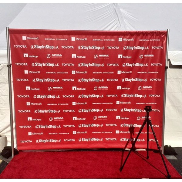 Stay N Step Custom Trade Show Booth Banner with Step & Repeat Backdrop and Pegasus Frame