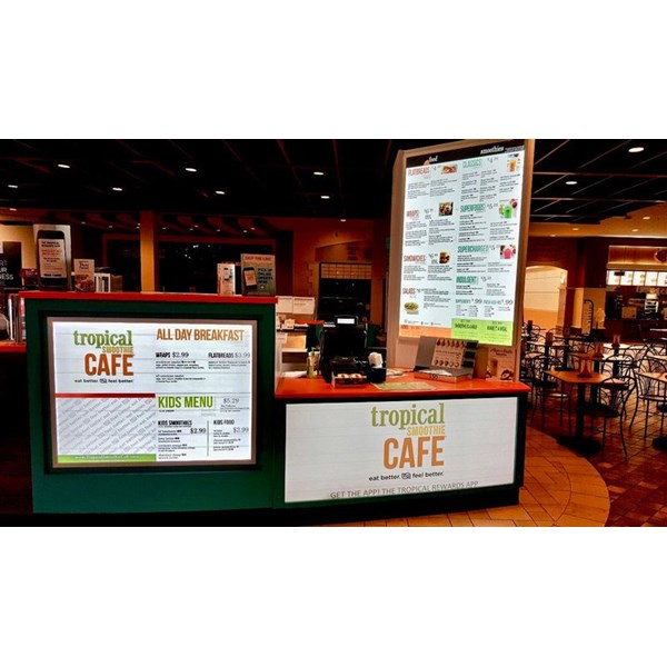 Tropical Smoothie Cafe - Backlit Sign and Menu with Translucent Vinyl Graphics Applied to Acrylic