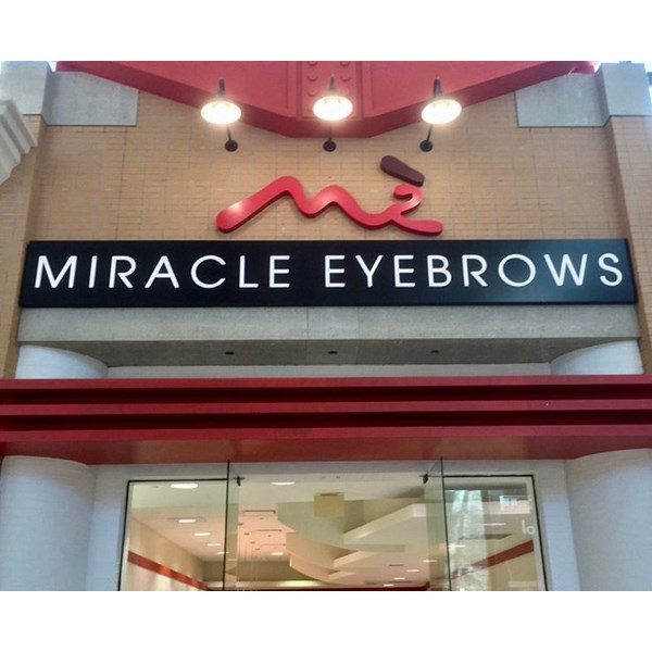 Custom Channel Letters for Miracle Eyebrows - Push Through LED Illuminated Acrylic Letters and Custom Cut Aluminum Logo at Westfield Citrus Park Mall