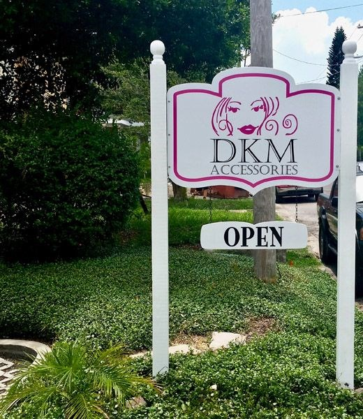 Custom Double-Sided Contour Cut Post and Panel Wood Sign for DKM Accessories in South Tampa