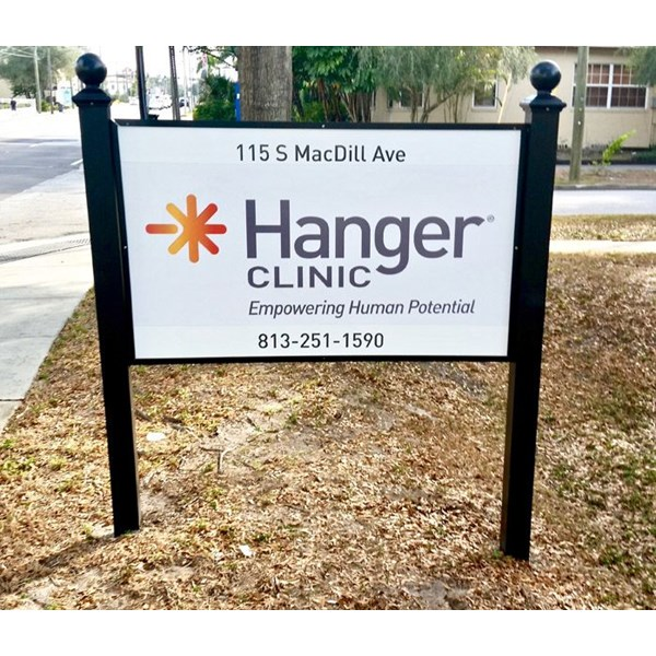 Custom Aluminum Post and Panel Sign with Decorative Post Finials, for Hanger Clinic in South Tampa